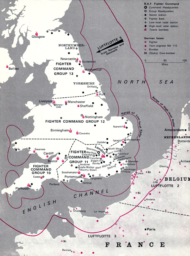 Battle of Britain map